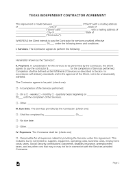 Simple Contractor Agreement Template Free Texas Independent Contractor Agreement Word Pdf
