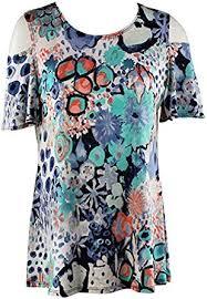 Caribe - Floral Flash, Cool Shoulder, Short Sleeve, <b>Scoop Neck</b> ...