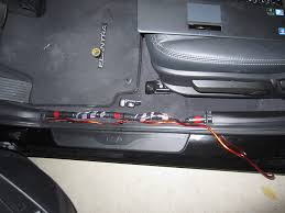 elantra limited w nav subwoofer and amplifier install and setup i removed front door scruff trim by pulling straight up on it and the wire came out the bottom of the side cowl trim i left the center pillar trim on and