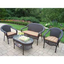 Elite Resin Wicker 4-Piece Patio Seating Set with Striped Cushions Oakland Living