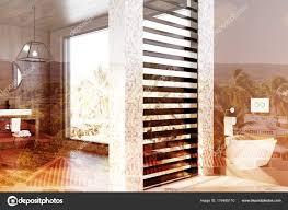 Weiße Fliesen Holz Bad Waschbecken Wc Doppelzimmer Stockfoto