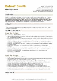 Microsoft Excel Resume Template Reporting Analyst Resume Samples Qwikresume