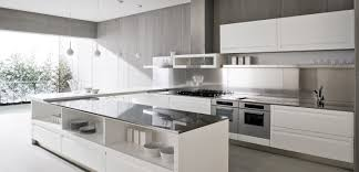 modern white and gray kitchen. Image Of: Modern White Kitchen Glass And Gray K