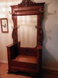 wood hall tree cherry entryway wood hall tree coat rack storage bench with mirror antique hall