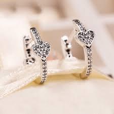 <b>Authentic 100</b>% <b>925 Sterling</b> Silver Alluring Hearts CZ Hoop Earrings