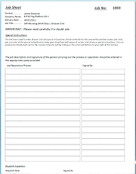 Job Sheet Template Excel Pics Free Card Image Specialization