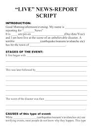 Natural Disaster Live Newsreport Script Template