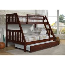 Donco Kids Mission-Style Dark Cappuccino Twin over Full Bunk Bed with Trundle Bed