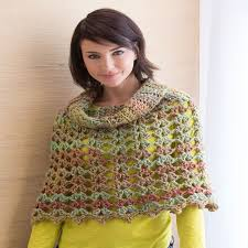Redheart Free Crochet Patterns Fascinating Chic Cowl Neck Poncho Red Heart