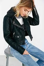 obey ed sherpa collar vegan leather moto jacket black