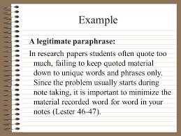 plagiarism and paraphrasing ppt  example a legitimate paraphrase