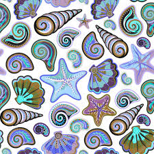 Seashells Design Graphic Pattern With Seashells Sea Stars Hand Drawing Seamless