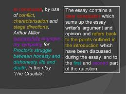 sample essay the crucible ppt video online  in conclusion by use of conflict characterisation and stage directions arthur miller successfully