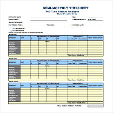 26 Monthly Timesheet Templates Free Sample Example
