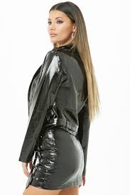 faux patent leather moto jacket