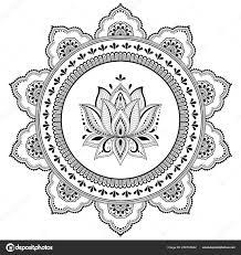 Kruhové Pole Formě Mandaly Lotus Flower Pro Henna Mehndi Tetování