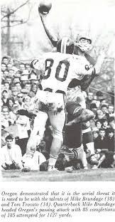 Oregon quaretrback Mike Brundage throws a pass at Hayward Field 1965. From  the 1966 Oregana (University of Oregon yearbook).… | University of oregon,  Oregon, Threat