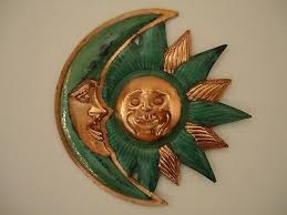 sun and moon copper metal wall art