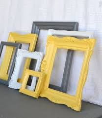 Yellow, Grey/Gray White Vintage Ornate Frames Set of Upcycled Frames Modern  Bedroom Decor. I could spray paint some old Frames I already have.
