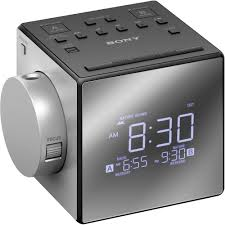 sony icf c1pj alarm clock radio with time projection black