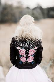 i m not usually one for wedding trends but if there s one that i can totally get behind it s the painted leather jacket what a perfect way to add some