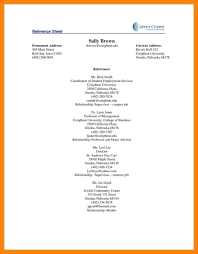 Reference Sheet Resume Professional Reference Sheet References Page Example Of Resume How 10