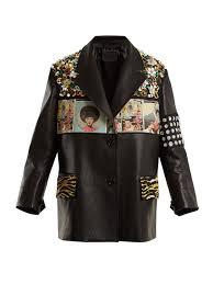stud embellished mens leather jacket