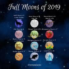 Full Moon Chart 2019 2019 Full Moons Moon Astrology Moon Magic Full Moon