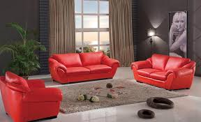 elegant design of modern small living room with red sofa