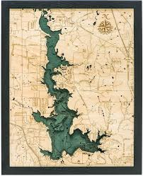 Lake Conroe Nautical Chart Eagle Mountain Lake 3 D Nautical Wood Chart 16 X 20