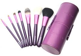 2016 new arrival zoreya 7pcs makeup brush set in round purple high quality leather case