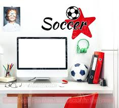 sports wall decals soccer with star vinyl lettering sports decals wall stickers teen bedroom decor sports