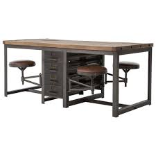 industrial furniture table. Interesting Table Wilkes Industrial Loft Reclaimed Pine Iron 4 Swivel Stools Desk Dining Table   Kathy Kuo Home  With Furniture