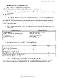 AQA GCE Business Year 2 Activity worksheets