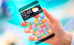 future technology in mobile phones. smartphone with transparent screen future technology in mobile phones f