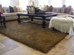 furniture astounding dining room decoration with brown furry area rugs along black wood and glass coffee table white long coach awesome decorating on