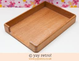 vintage wooden paper or serving tray 7 00