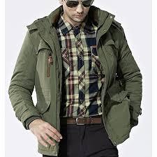 mens outdoor jacket fleece thick warm waterproof plus size hooded winter parka