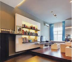 varnish wooden floor varnish wooden book contemporar with wall gray carpet laminate wall blue curtain wall light white ceramic table white fabric sofa black