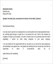 Resignation Letter Format Due To Personal Reason New Sample ...