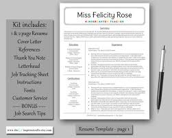 Teacher Resume Template Instant Download Microsoft Word Pc
