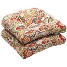 com pillow perfect indoor outdoor multicolored modern fl wicker seat cushions 2 pack home kitchen