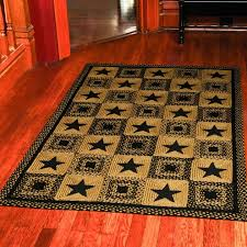primitive braided rugs country area 8x10 black star rectangle rug brown and black rug home decor
