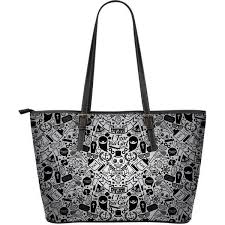 details about skull tattoo art large leather handbag tote bag zipper closure art both sides