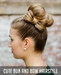 cute bun and bow hairstyle