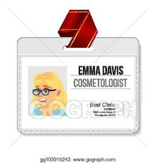 Identification Template Vector Art Cosmetologist Identification Badge Vector Woman Name