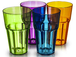4 x bello large colour acrylic plastic hi ball tumblers drinking water glasses