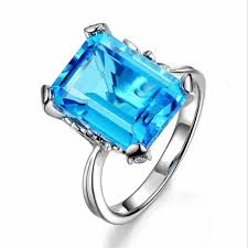 <b>TJP Luxury</b> Crystal Blue Rectangle <b>Stone</b> Rings For Girl Jewelry ...