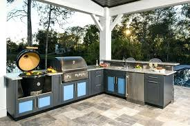 outdoor kitchen ideas l shaped with bright cabinets green egg backyard diy di outdoor kitchen ideas