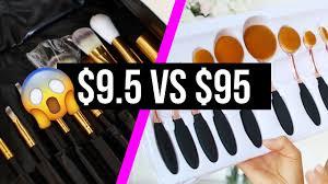 vs expensive makeup brush set i oval brush set review demo